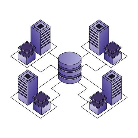 database center connected server storage network vector illustration  イラスト・ベクター素材