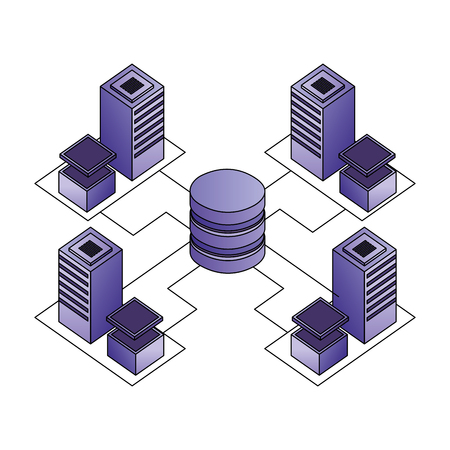 database center connected server storage network vector illustration Illustration