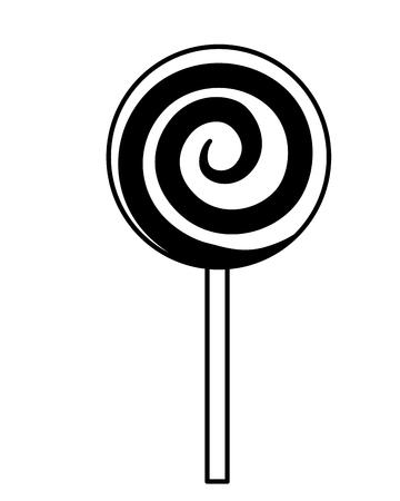 sweet round lollipop spiral icon vector illustration Ilustração