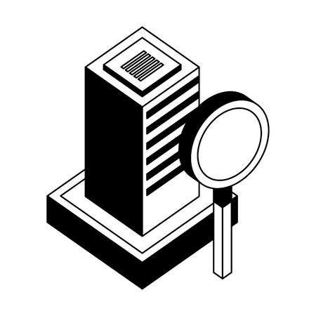 database server center magnifying glass network vector illustration