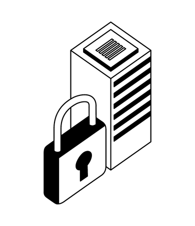 database server center security protection network vector illustration