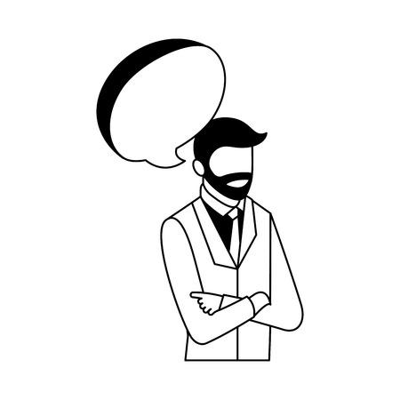 businessman portrait speech bubble communication vector illustration