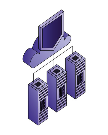 database server cloud computing storage protection connection vector illustration