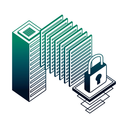 database server center security data network vector illustration neon