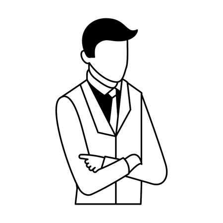 businessman portrait with arms folded business vector illustration