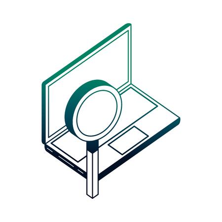 Ordenador portátil y red de lupa ilustración vectorial neón Ilustración de vector