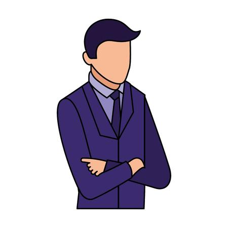 portrait d & # 39; homme d & # 39; affaires avec les bras croisés illustration vectorielle d & # 39; affaires