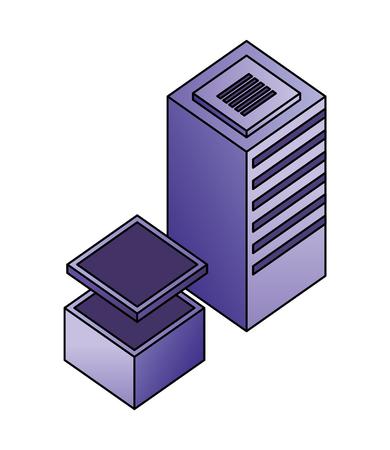 database server center storage data network vector illustration Illustration