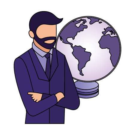 businessman portrait database center world network vector illustration