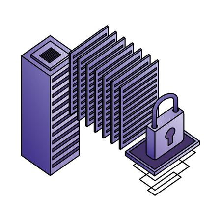 database server center security data network vector illustration Stock Vector - 110418650
