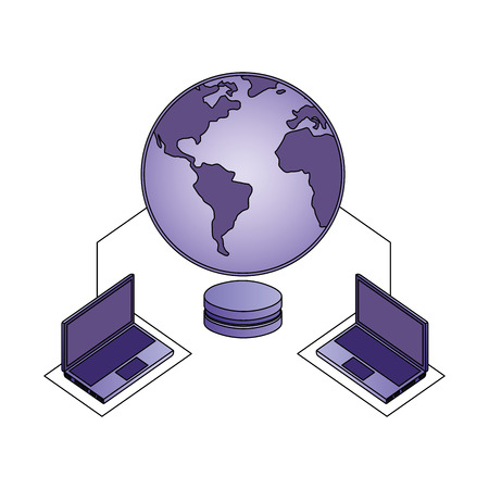 database center security connection laptops data network vector illustration Illustration