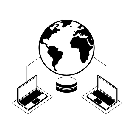 database center security connection laptops data network vector illustration Stock Illustratie