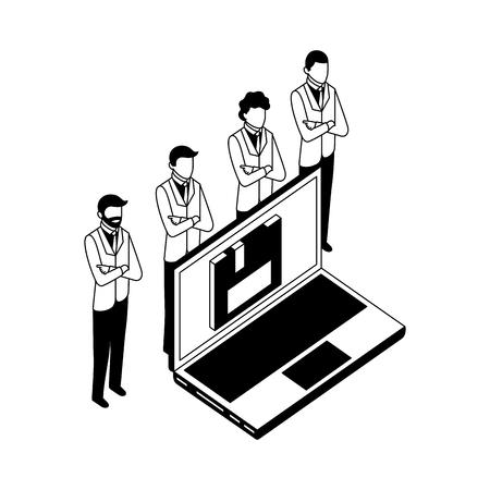 team business men group with laptop floppy network vector illustration