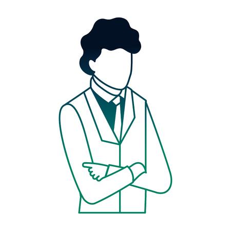 businessman portrait with arms folded business vector illustration neon Ilustração