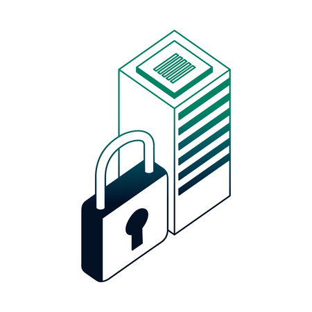 database server center security protection network vector illustration neon