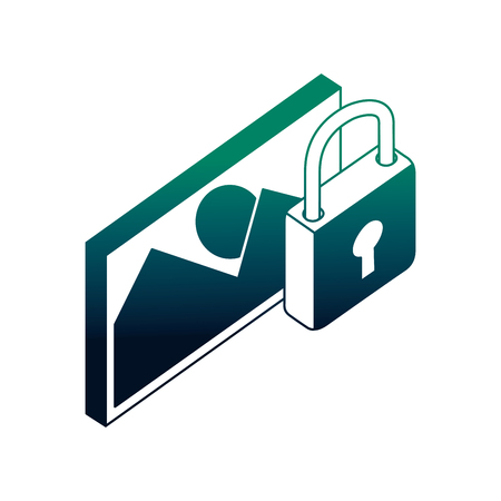 data network image picture security protection vector illustration neon