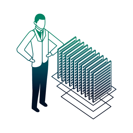 businessman and documents file data network vector illustration neon Illustration