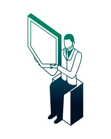 businessman sitting holding shield protection network vector illustration neon  イラスト・ベクター素材