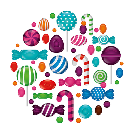 sweet candies icon pattern vector illustration design