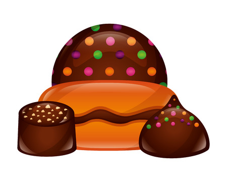 sweets cakes of chocolate isolated icon vector illustration design