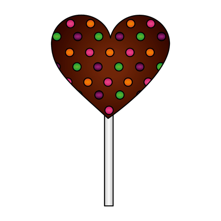 sweet lollipop of chocolate in shape heart isolated icon vector illustration design
