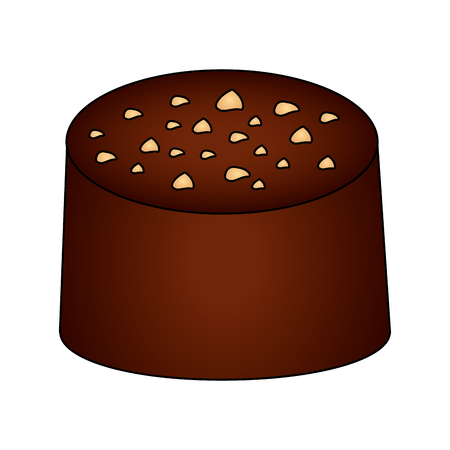 sweet cake of chocolate isolated icon vector illustration design