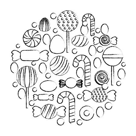 sweet candy round pattern confectionery vector illustration hand drawing