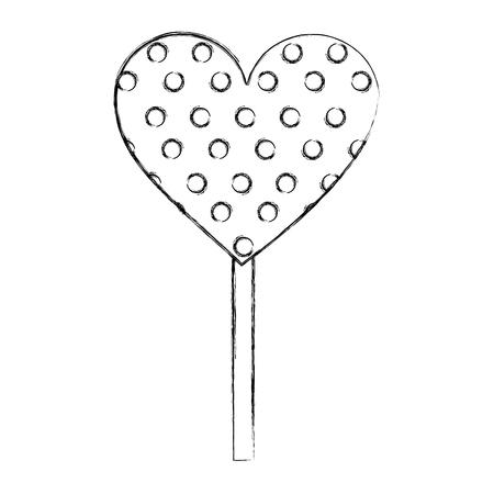 sweet candy heart lollipop with sprinkles vector illustration hand drawing Ilustração