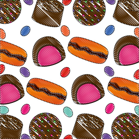 sweet candies cartoon yummy confectionery pattern vector illustration
