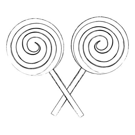 Sucettes en spirale croisées bonbons sucrés vector illustration dessin à la main
