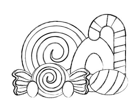Bonbons sucrés caramels canne snack dur vector illustration dessin à la main Vecteurs