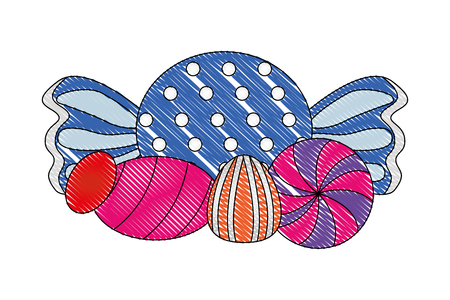 sweet candies caramels cane hard snack vector illustration