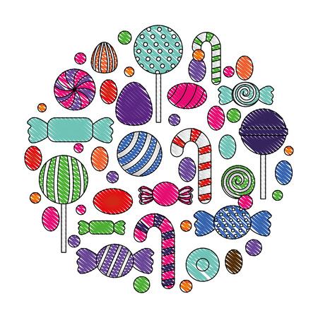 sweet candy round pattern confectionery vector illustration