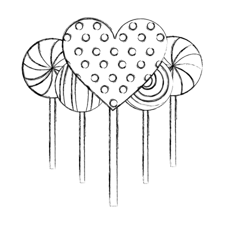 sweet candy lollipops heart spiral round confetionery vector illustration hand drawing