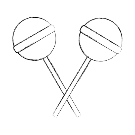 two crossed sweet candy lollipops vector illustration hand drawing