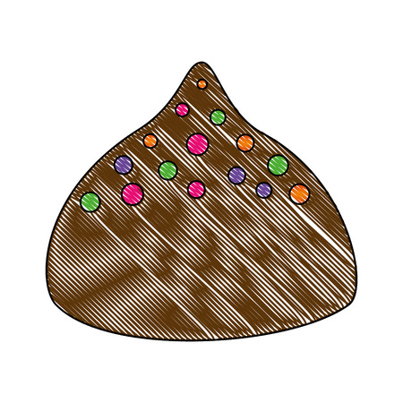 sweet chocolate bon bon shape chip vector illustration Stock Illustratie