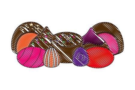 sweet candies chocolate bon bons caramels vector illustration Illustration