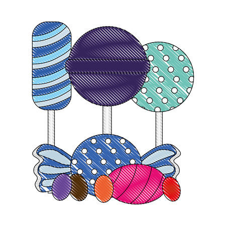sweet candy lollipops caramels and gummies vector illustration