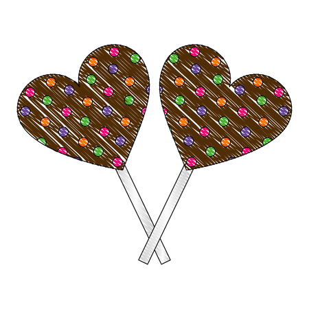sweet candy crossed lollipops heart chocolate vector illustration