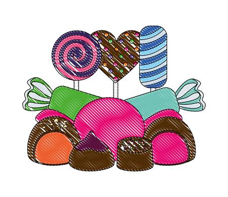 sweet candy lollipops chocolate bonbon stuffed vector illustration  イラスト・ベクター素材