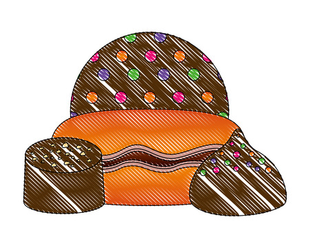chocolate bonbons macarons sprinkles sweet vector illustration Иллюстрация