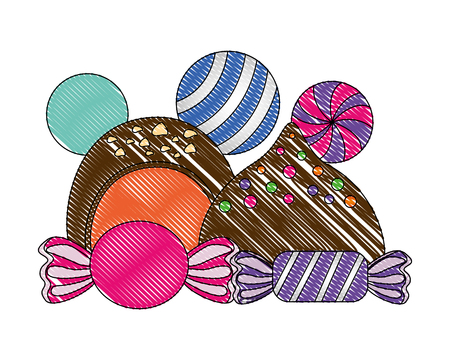 sweet candies chocolate bon bons caramels vector illustration Stock Illustratie