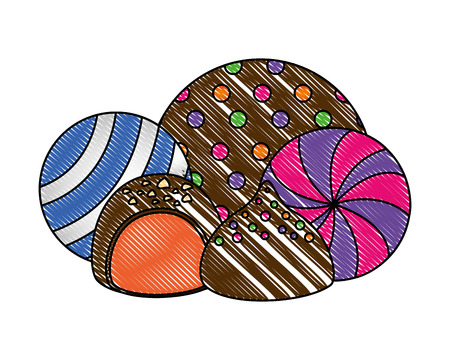 sweet candies chocolate bon bons caramels vector illustration  イラスト・ベクター素材