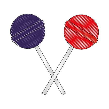 two crossed sweet candy lollipops vector illustration