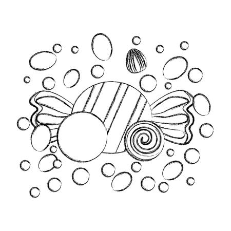 Bonbons sucrés caramels canne collation dure vector illustration dessin à la main Vecteurs