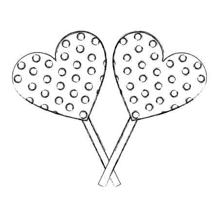 sweet candy crossed lollipops heart chocolate vector illustration hand drawing