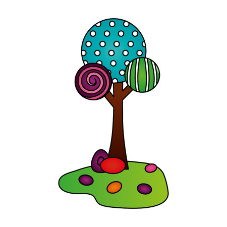 tree land sweet candies confetionery vector illustration Çizim