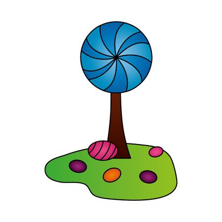 tree land sweet candies confetionery vector illustration Illusztráció
