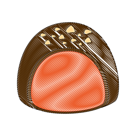 sweet candy chocolate bon bon stuffed vector illustration