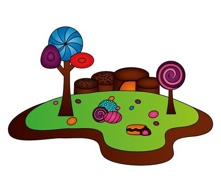 fantasy sweet candies chocolate landscape vector illustration Çizim